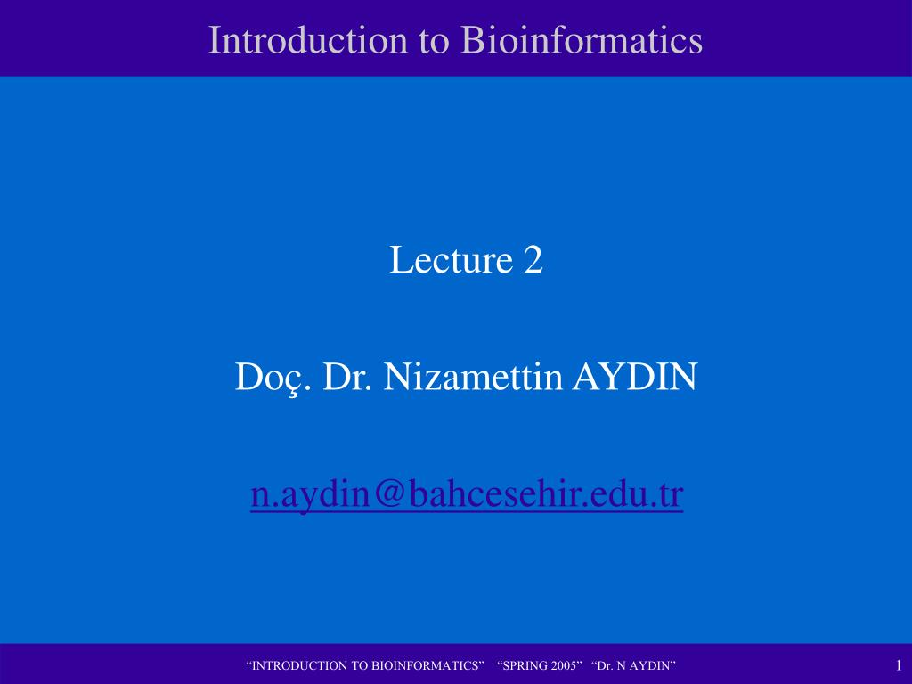 introduction to bioinformatics l.