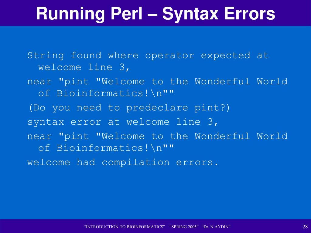 Running Perl – Syntax Errors