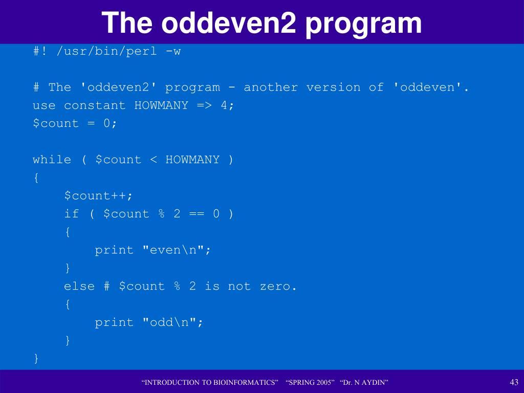 The oddeven2 program