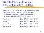incidence of violence and bullying example 2 korea