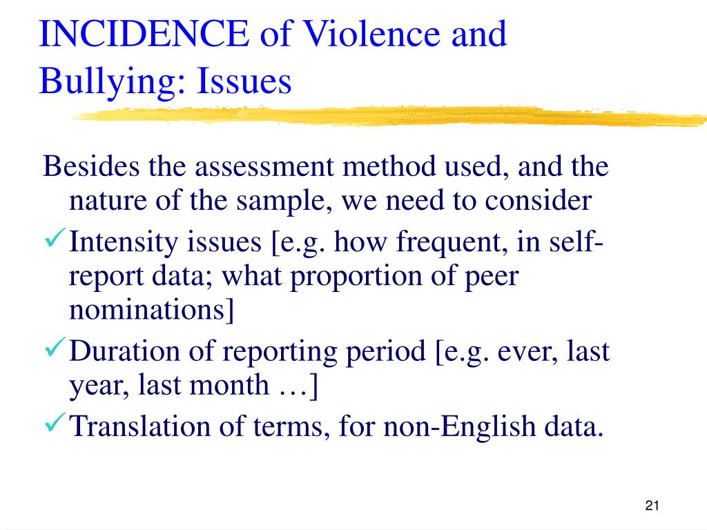 INCIDENCE of Violence and Bullying: Issues