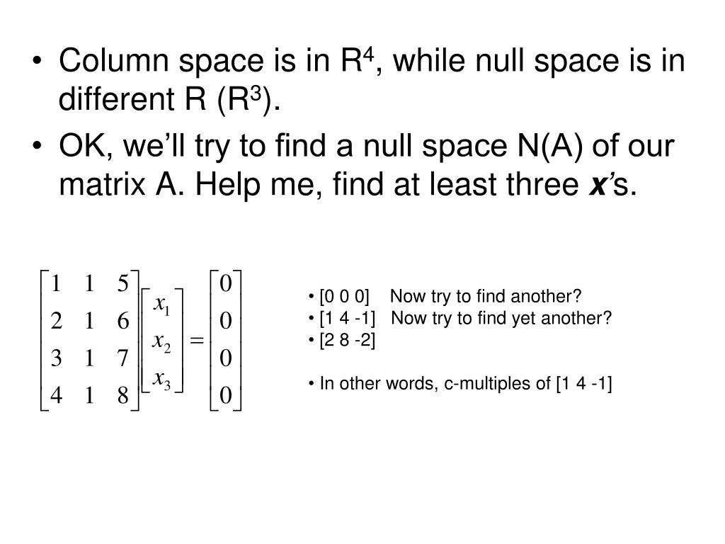 Column space is in R