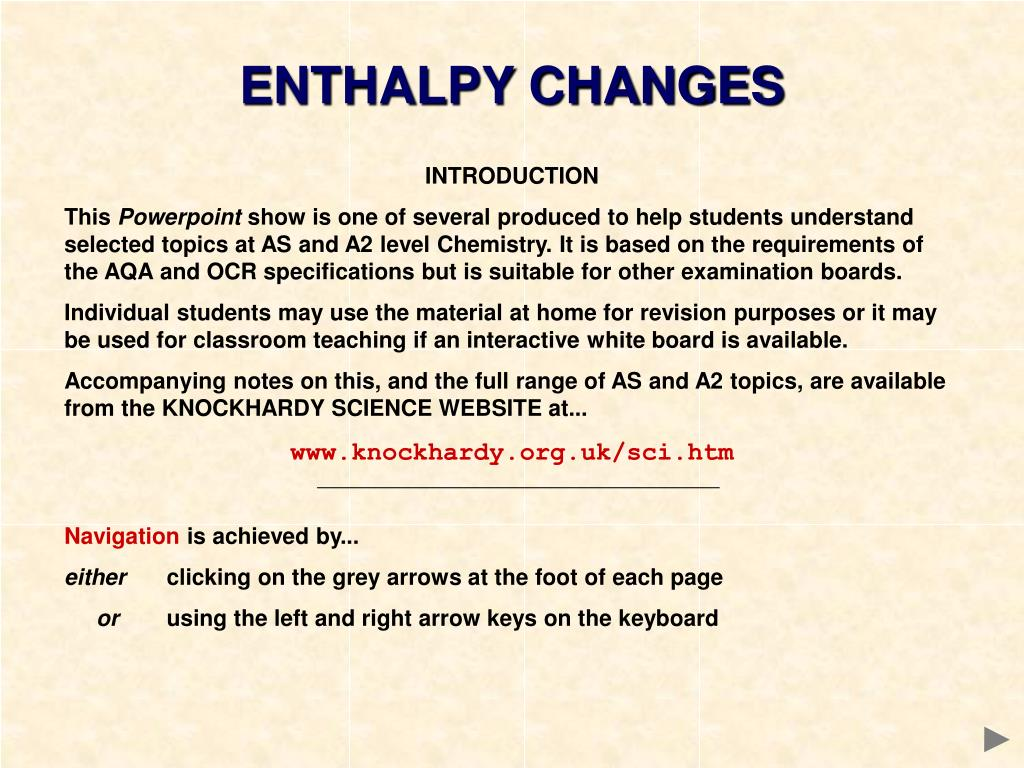 ENTHALPY CHANGES