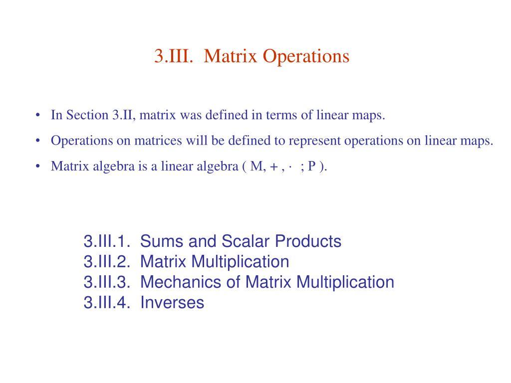 3 iii matrix operations