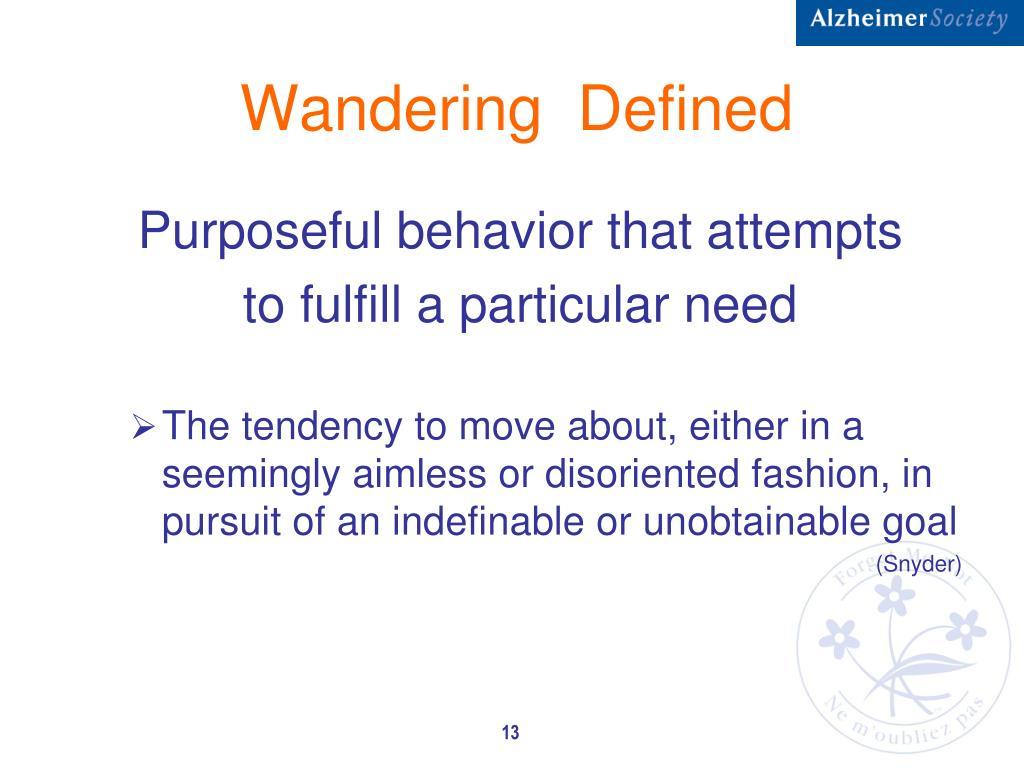 Wandering  Defined