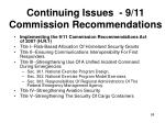 continuing issues 9 11 commission recommendations