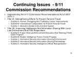continuing issues 9 11 commission recommendations59