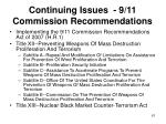 continuing issues 9 11 commission recommendations61