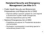 homeland security and emergency management law after 9 1124