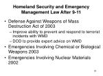 homeland security and emergency management law after 9 1125