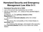 homeland security and emergency management law after 9 1127