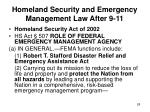 homeland security and emergency management law after 9 1128
