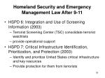 homeland security and emergency management law after 9 1133