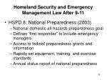homeland security and emergency management law after 9 1134