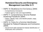 homeland security and emergency management law after 9 1136
