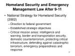 homeland security and emergency management law after 9 1137