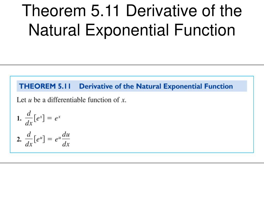 Theorem 5.11 Derivative of the Natural Exponential Function