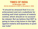 times of india 24 november 1944 on the introduction of ddt on december 2 1944