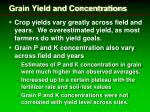 grain yield and concentrations