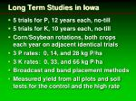 long term studies in iowa