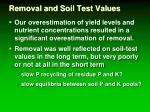 removal and soil test values