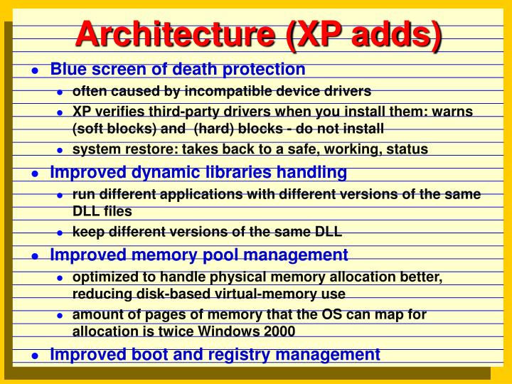 Architecture xp adds