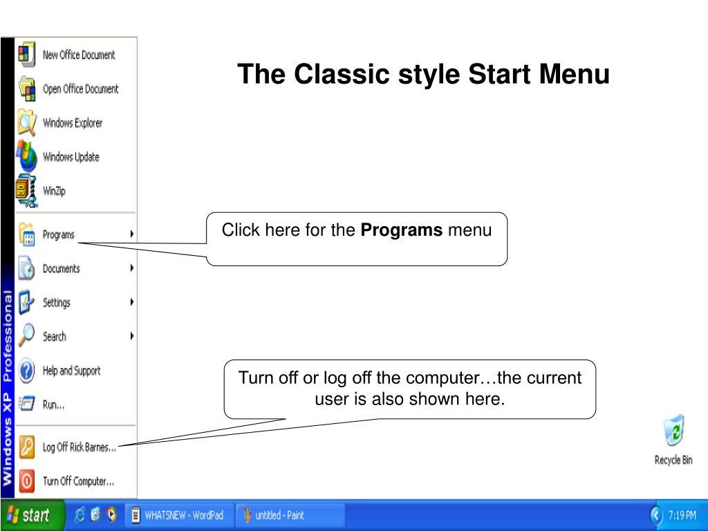 The Classic style Start Menu
