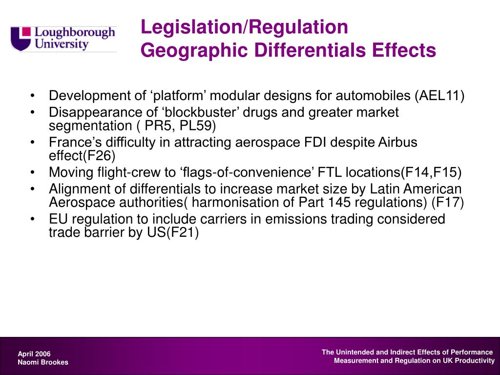 Legislation/Regulation Geographic Differentials Effects