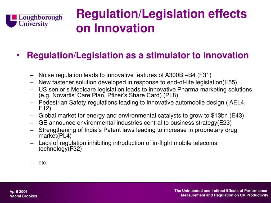 Regulation/Legislation effects on Innovation