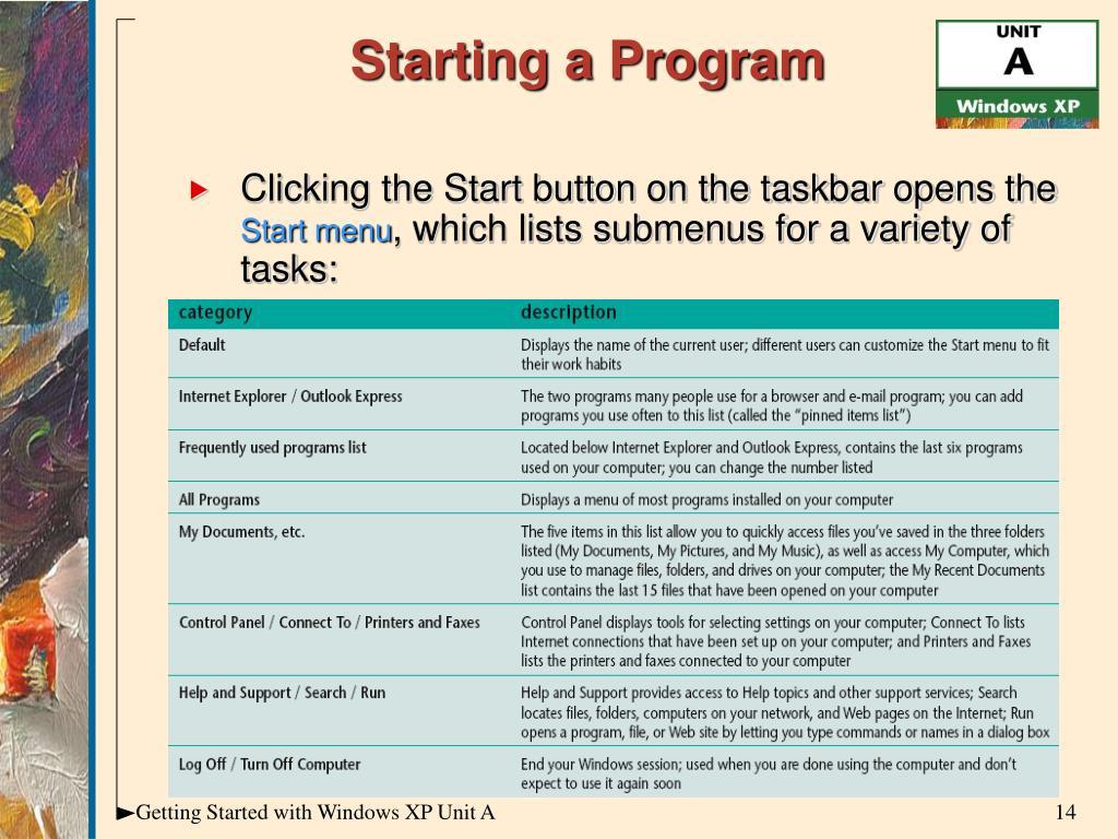 Starting a Program