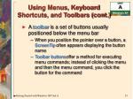 using menus keyboard shortcuts and toolbars cont23