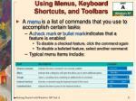 using menus keyboard shortcuts and toolbars