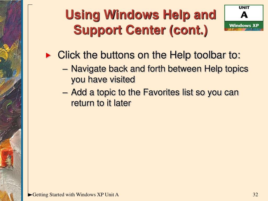 Using Windows Help and