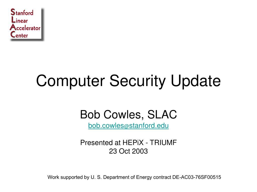 Computer Security Update