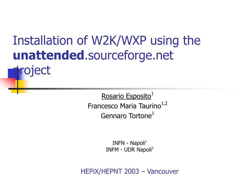 Installation of W2K/WXP using the