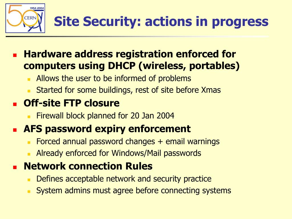 Site Security: actions in progress