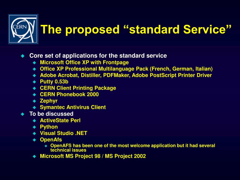 """The proposed """"standard Service"""""""