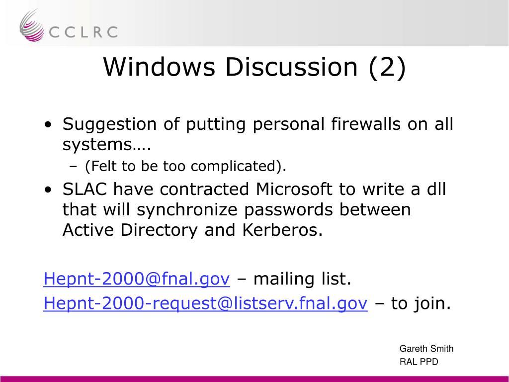 Windows Discussion (2)