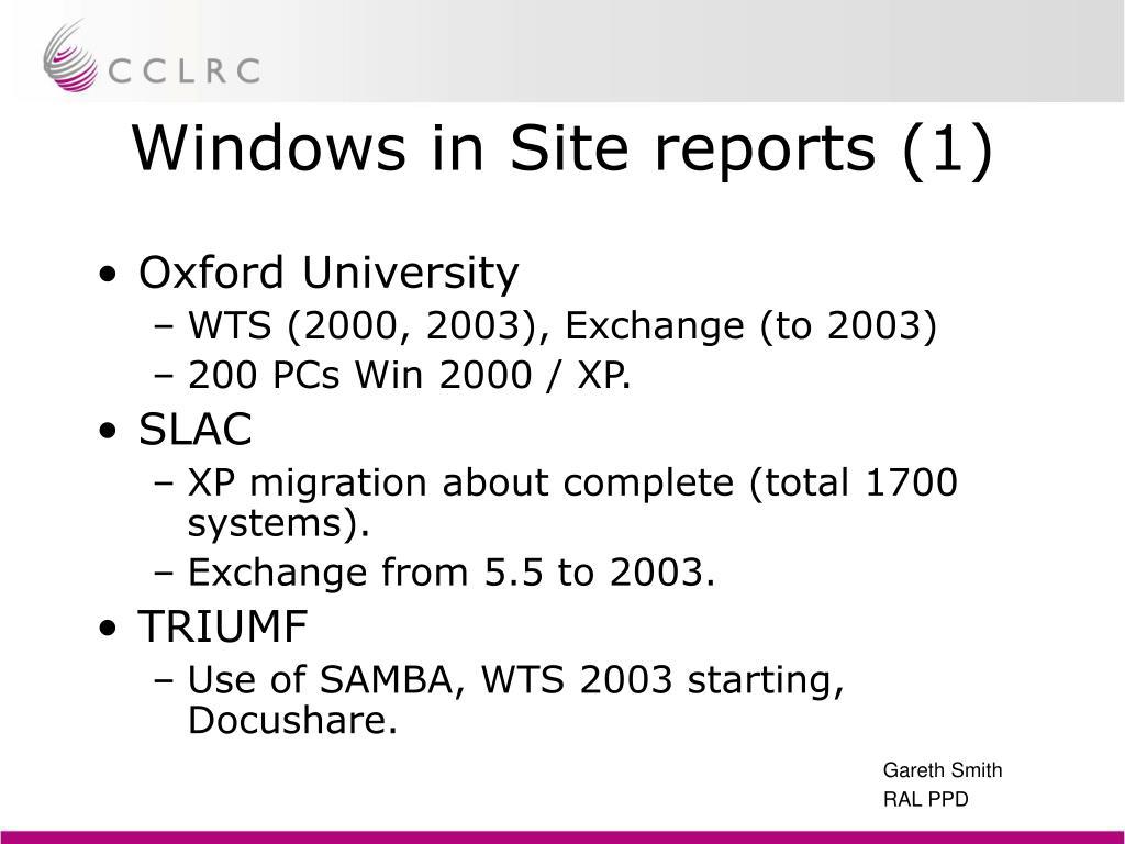 Windows in Site reports (1)