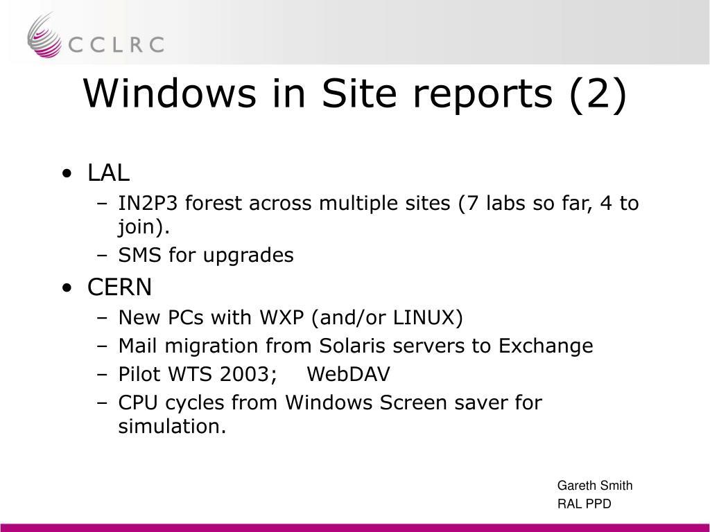 Windows in Site reports (2)
