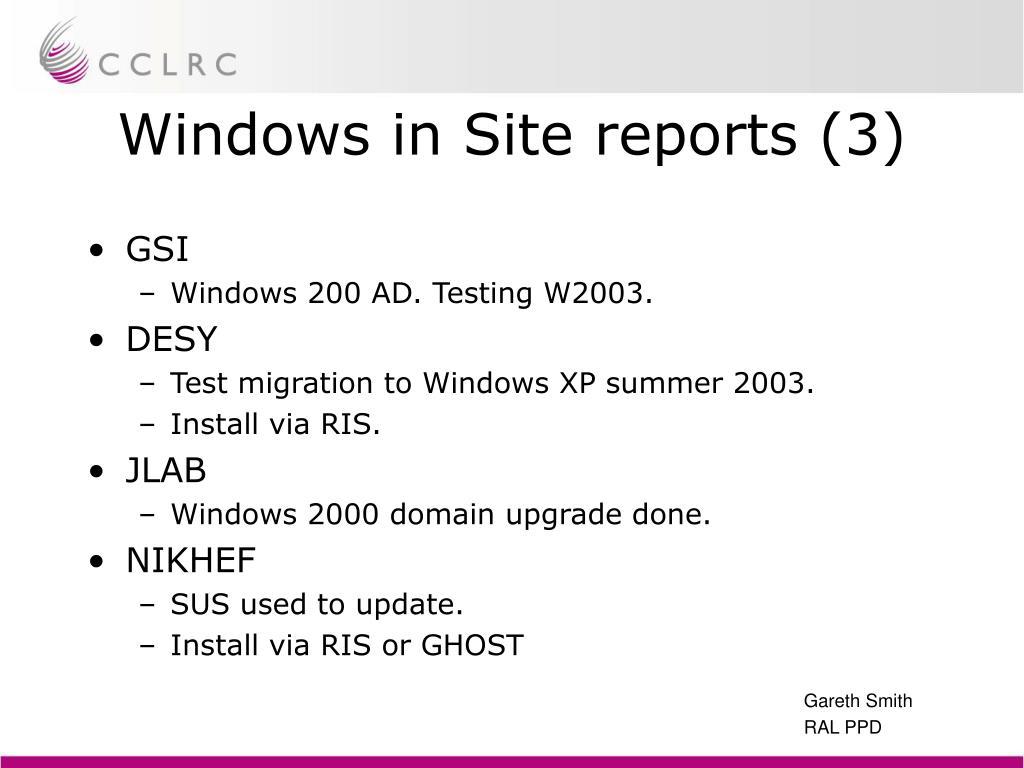Windows in Site reports (3)