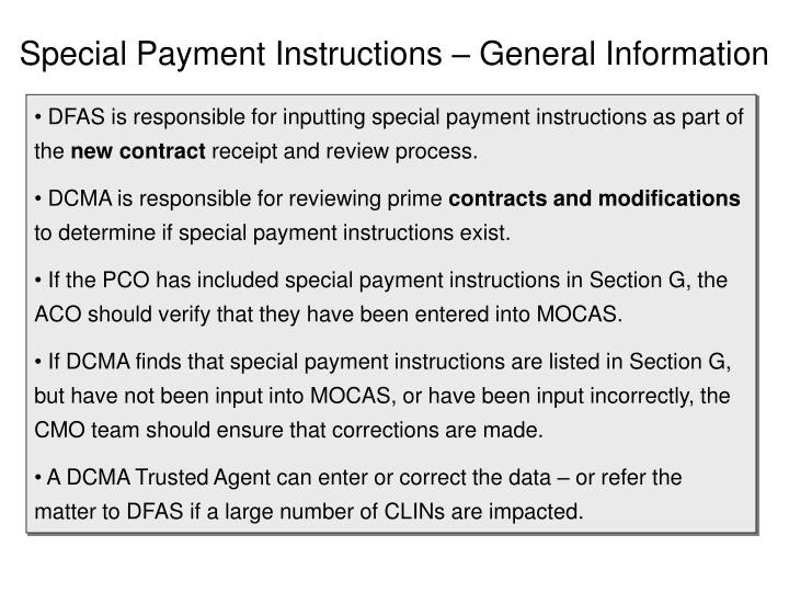 Special payment instructions general information