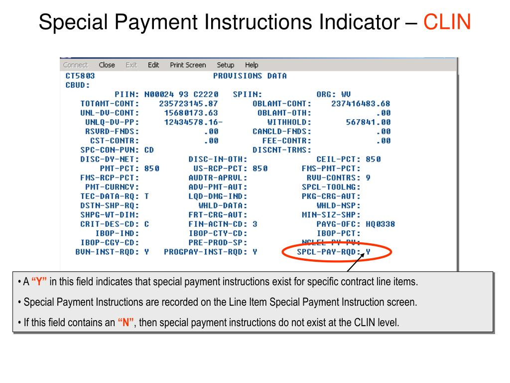 Special Payment Instructions Indicator –