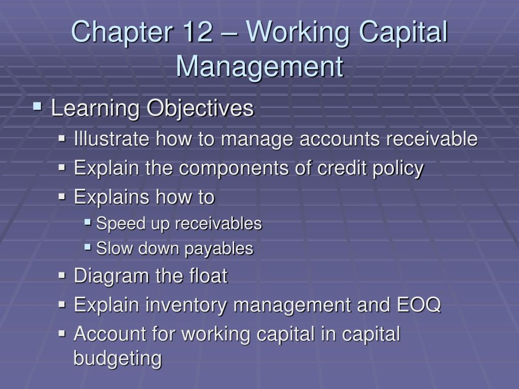 chapter 12 working capital management l.