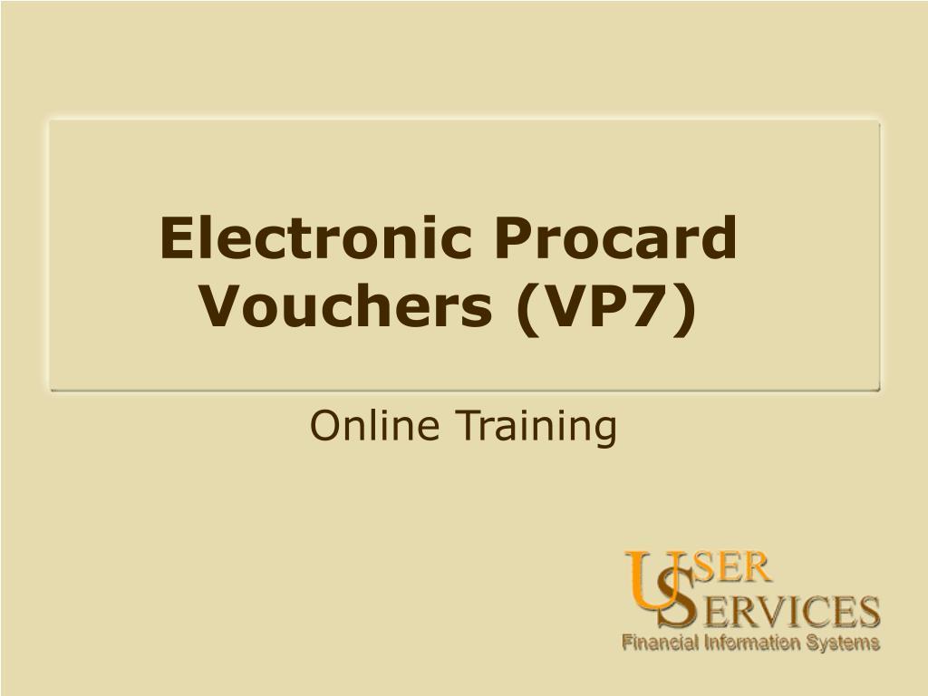 electronic procard vouchers vp7 l.