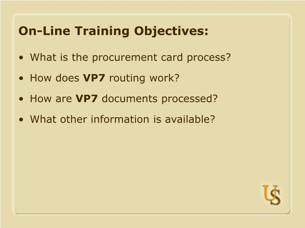 On-Line Training Objectives: