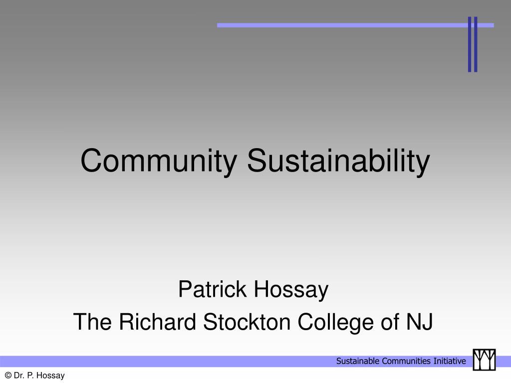 community sustainability l.