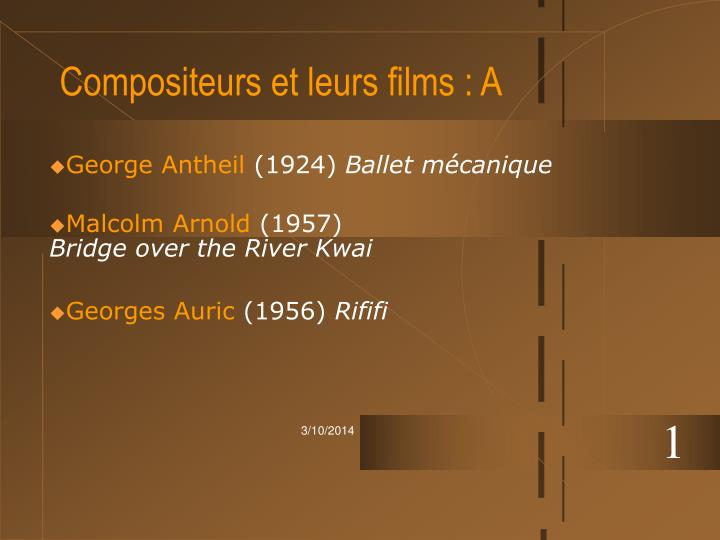 Compositeurs et leurs films a