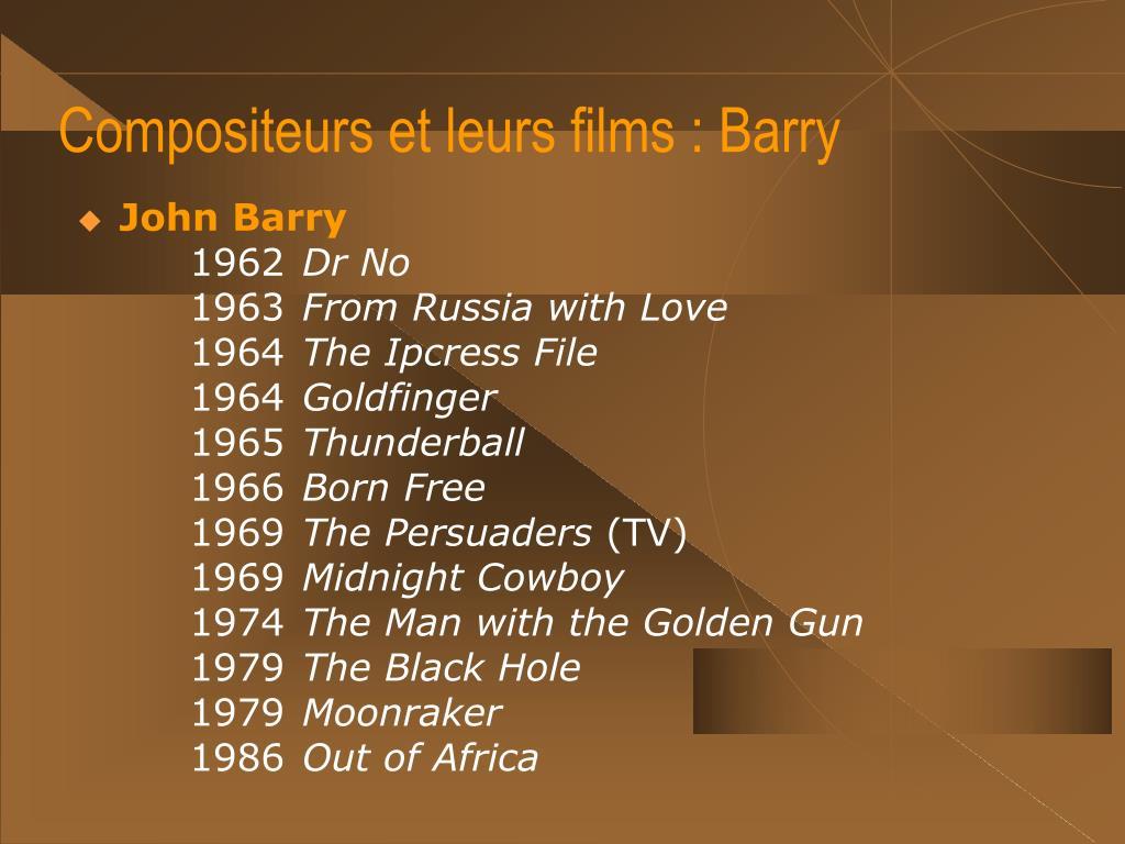 Compositeurs et leurs films : Barry
