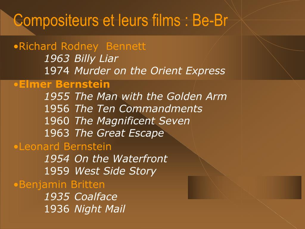 Compositeurs et leurs films : Be-Br
